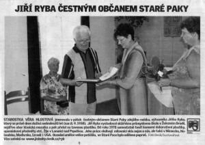 Jiří Ryba - čestným občanem Staré Paky