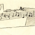 Skica plastiky Kouzelná flétna